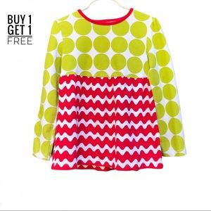J. Khaki Girls Red and Green Stripes/ Dots Top 6